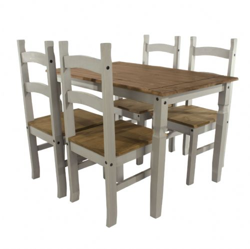 Premium Corona Grey Wash Pine Dining Table and Chair Sets